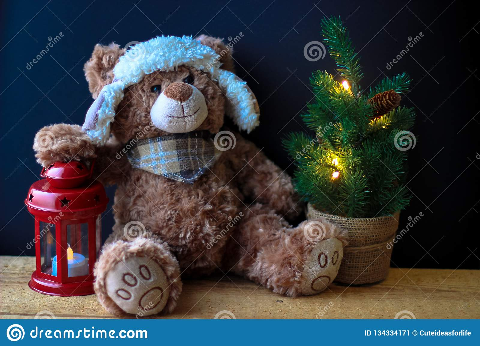1ba9b1bf84 Cute toy bear holding a paw on a red lantern on a black background. In the  frame