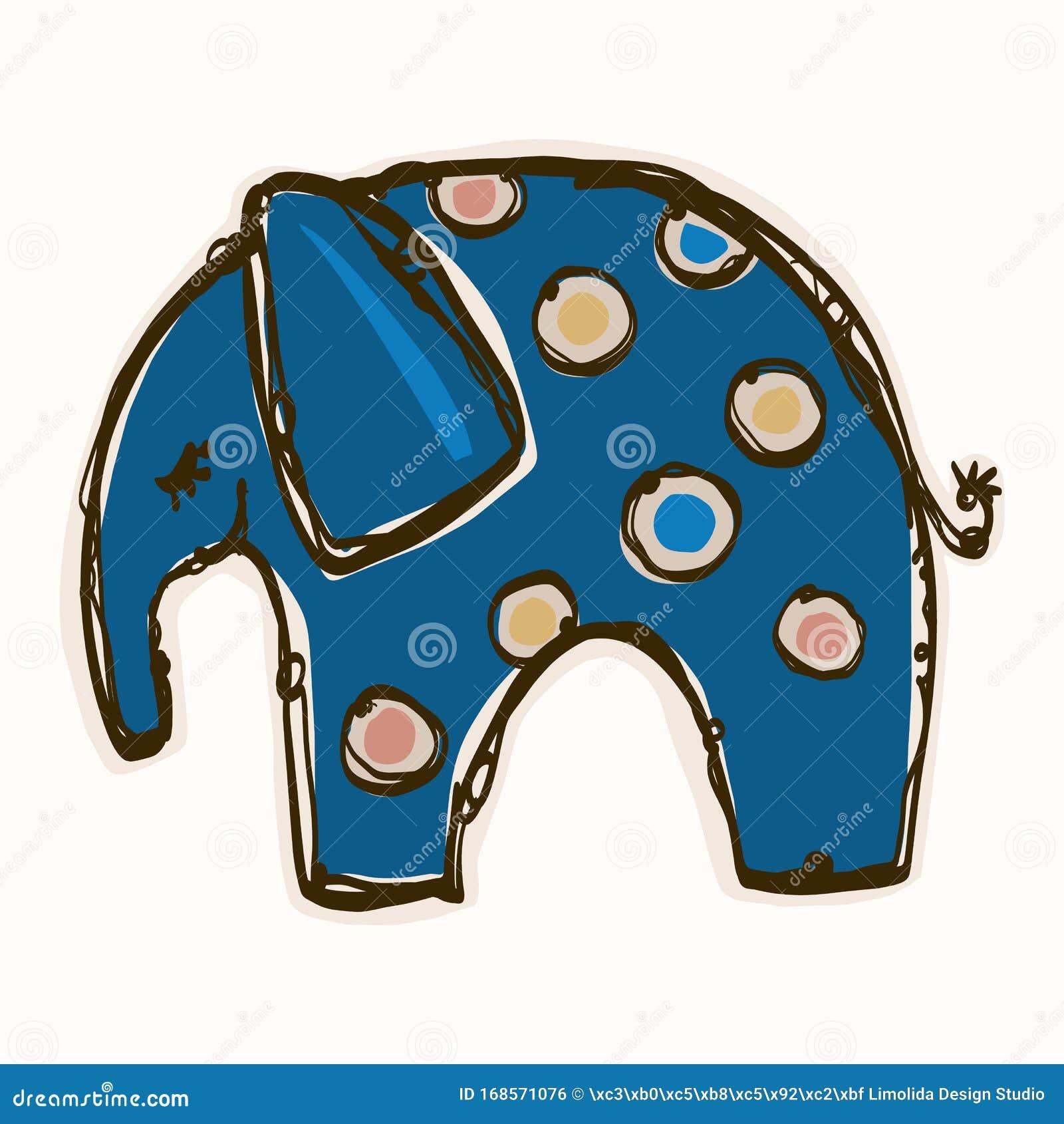 Cute Toy Elephant Clipart Vector Motif. Kids Safari Animal ...