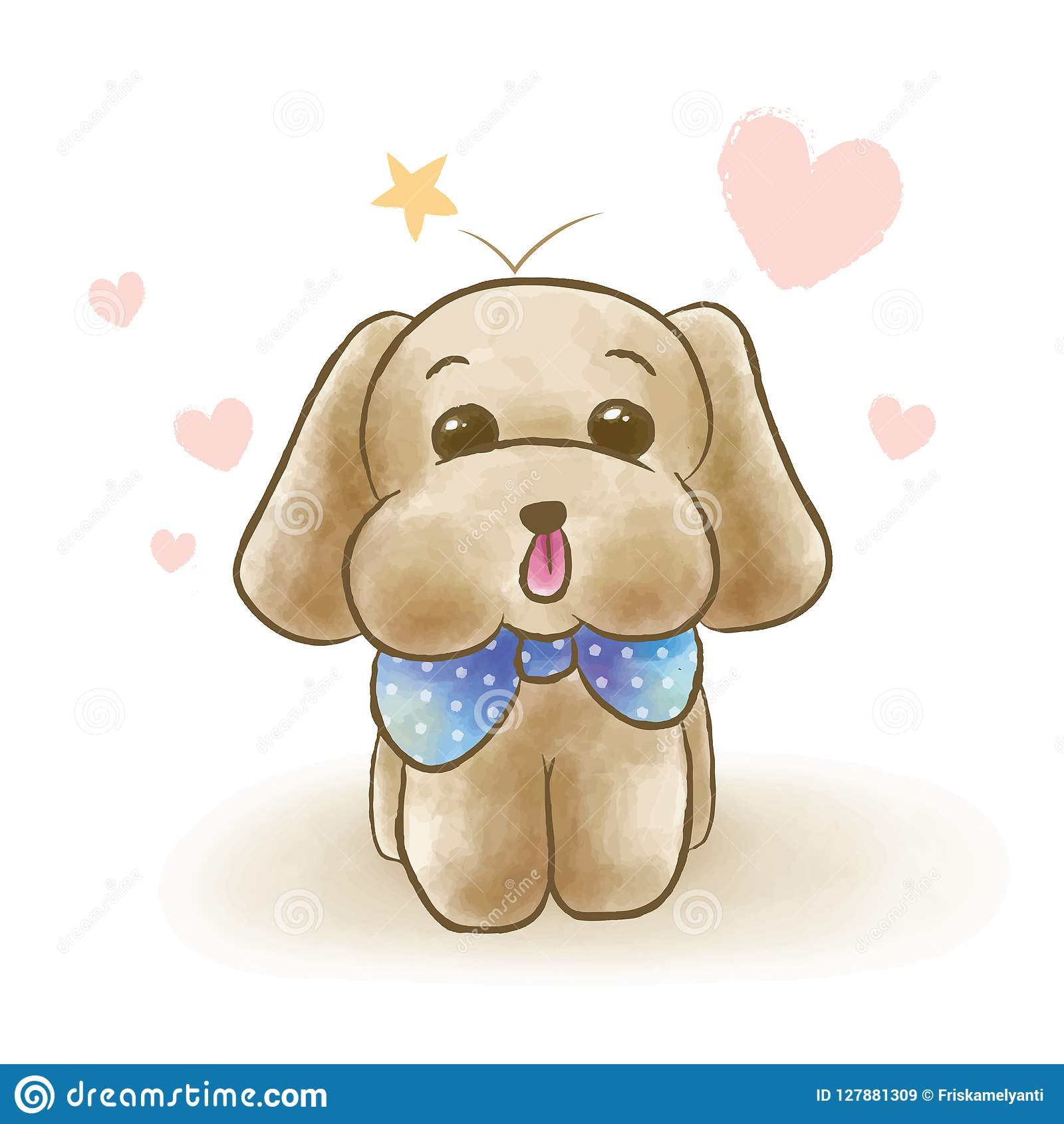 Cute Toy Poodle Puppy Dog Wearing Blue Ribbon Tie Stock Illustration Illustration Of Birthday Mascot 127881309