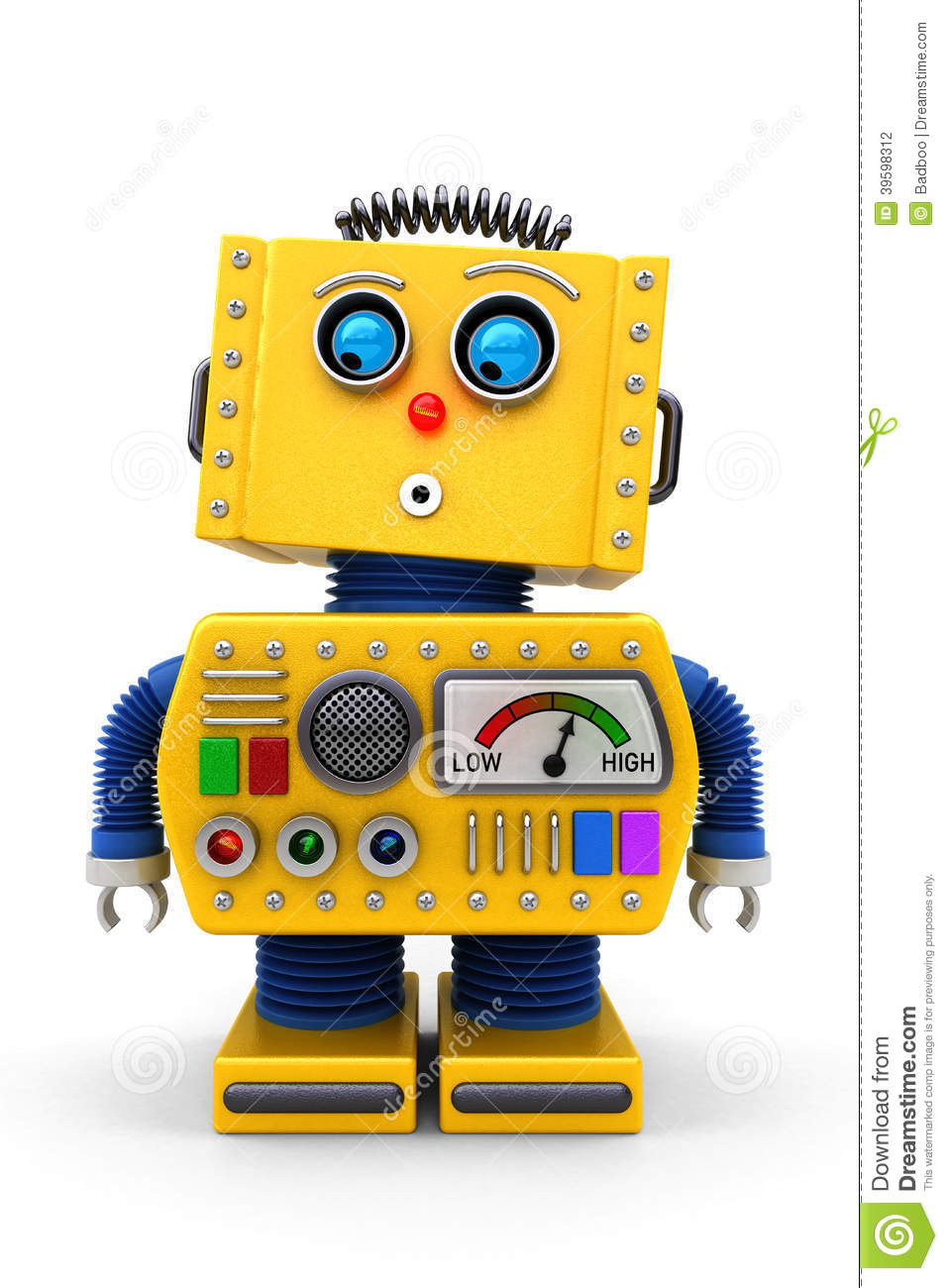 Cute Toy Robot Looking Down Stock Illustration Image
