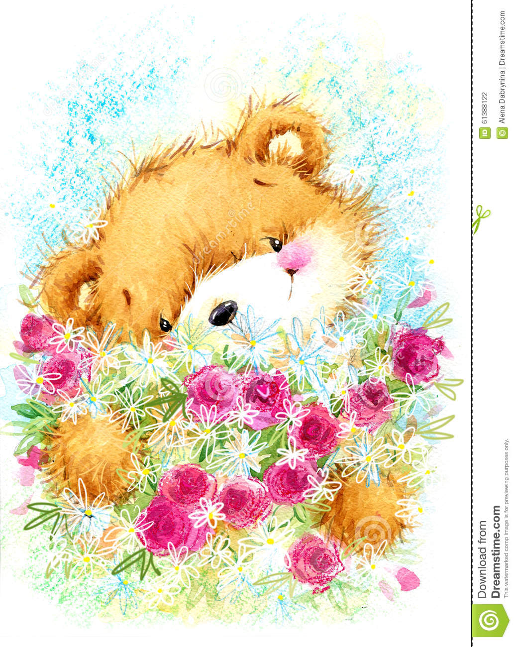 Cute Toy Teddy Bear And Birthday Card Background Stock Illustration