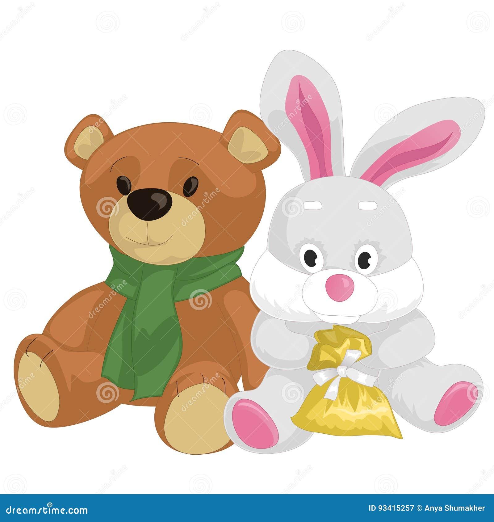 cute toy teddy bear and rabbit stock illustration illustration of