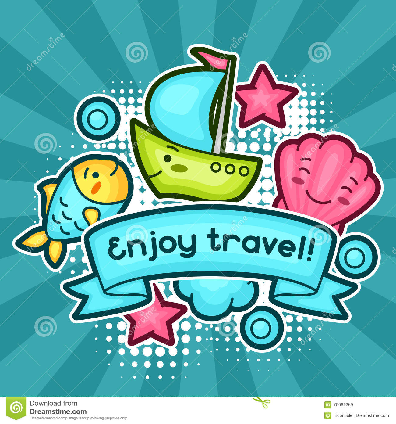 Cute Travel Background With Kawaii Doodles. Summer