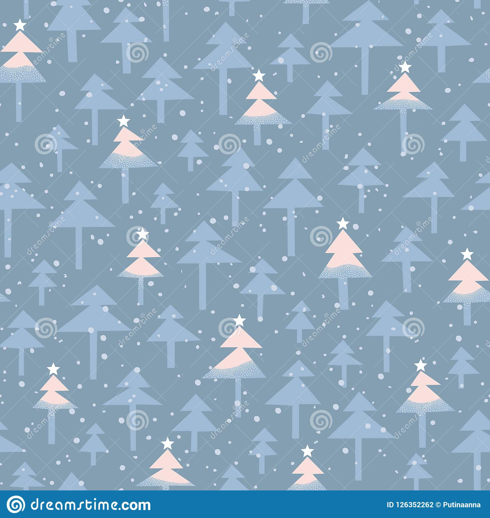 Cute Trendy Abstract Christmas Trees Stars Vector Seamless Pattern