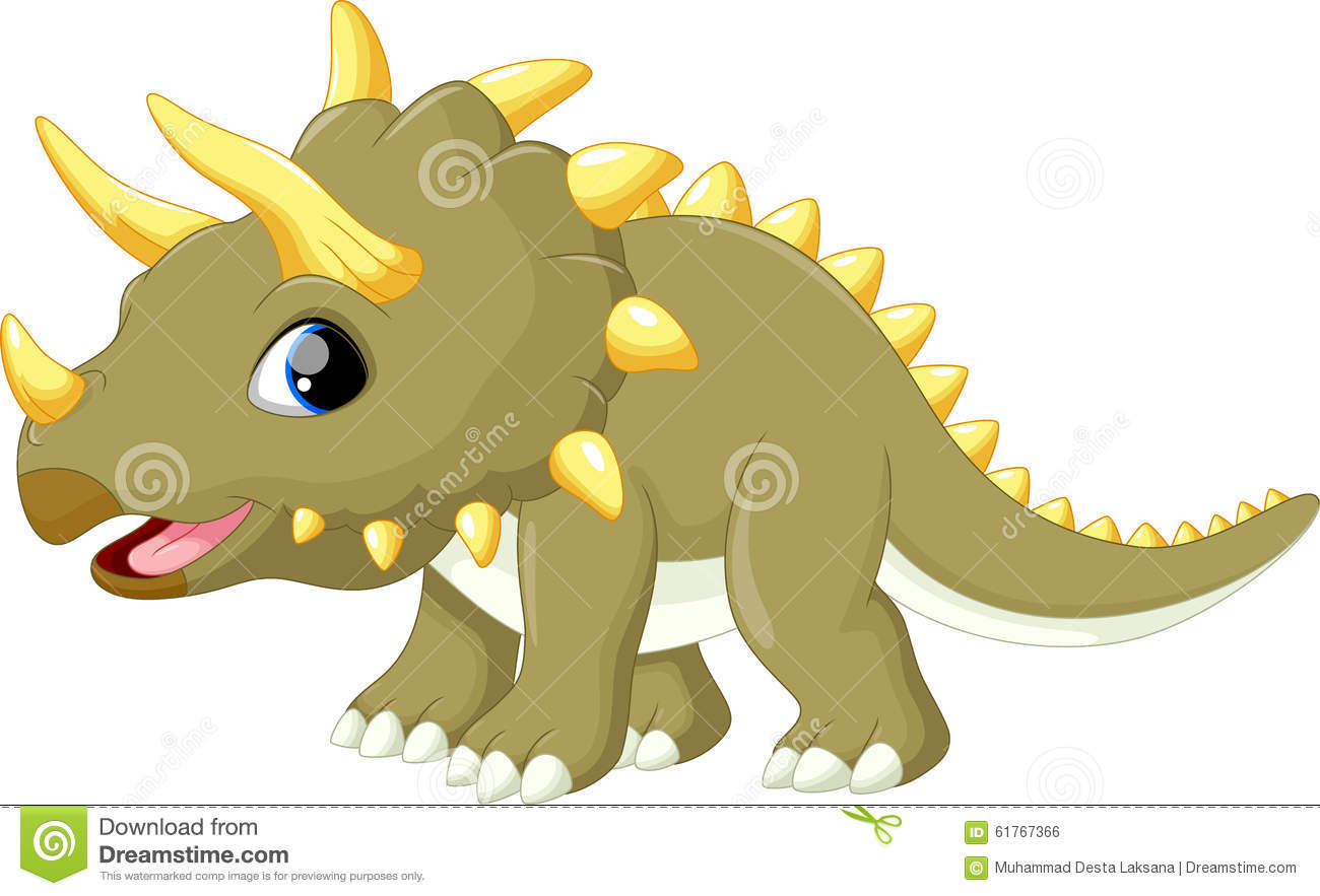 cute triceratops cartoon stock illustration image 61767366
