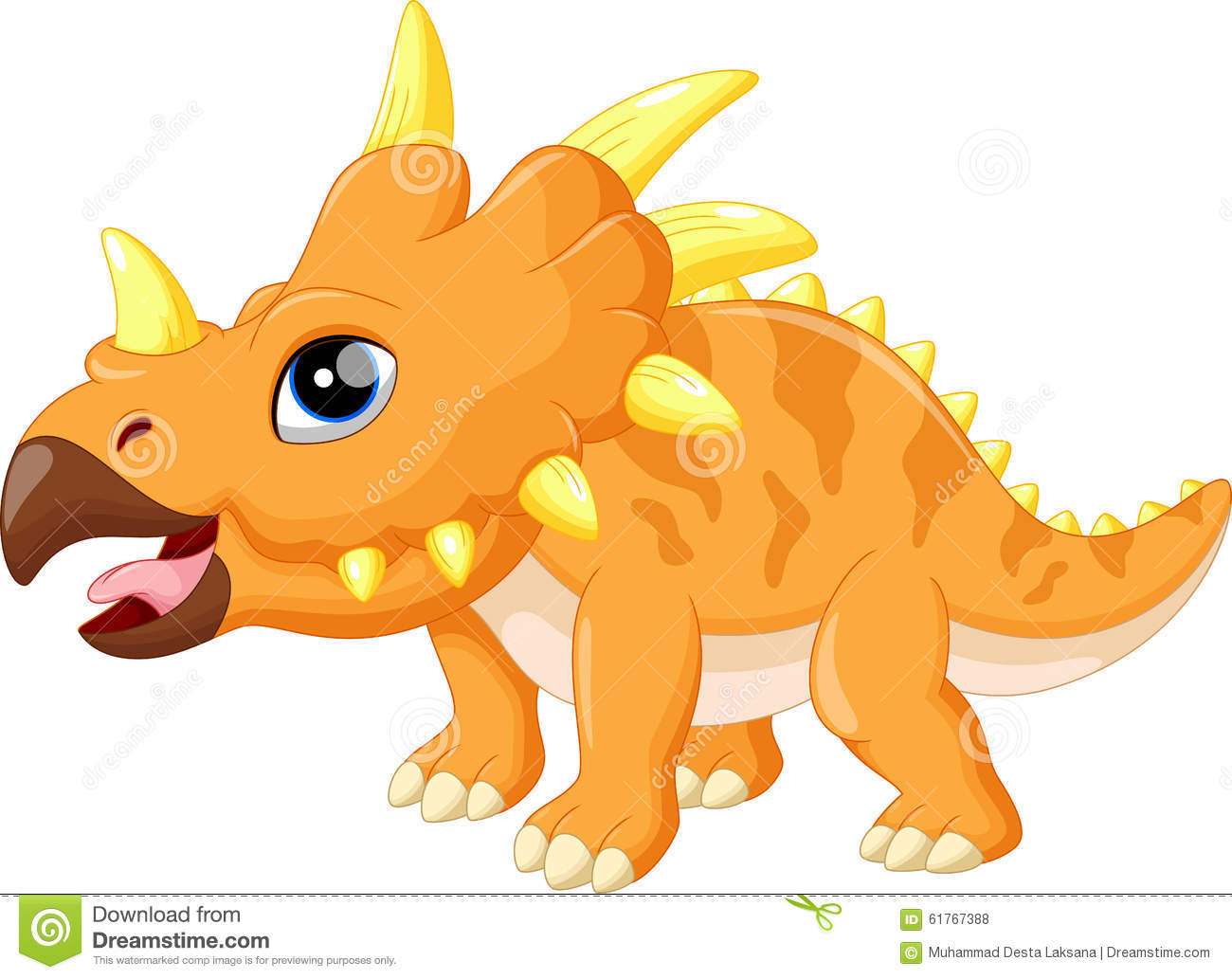 cute triceratops cartoon stock illustration image 61767388