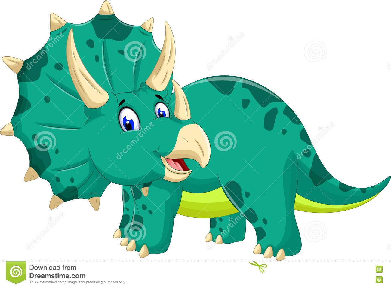 cute triceratops cartoon posing stock illustration