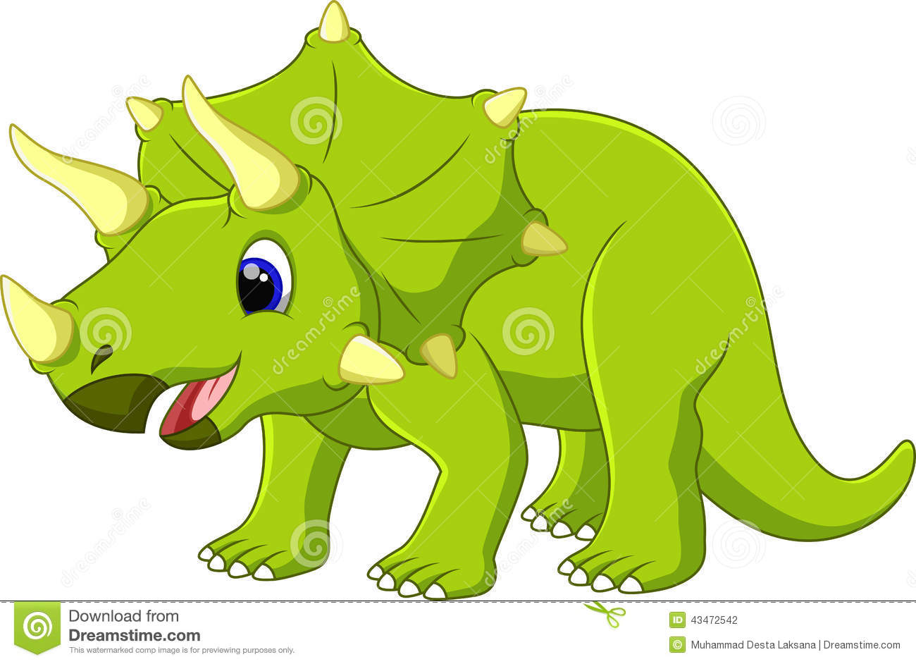 cute triceratops cartoon stock illustration image 43472542