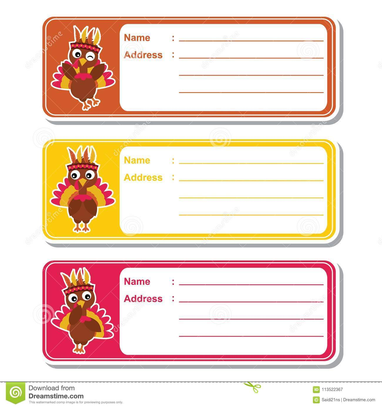 cute turkeys on colorful background suitable for kid address label