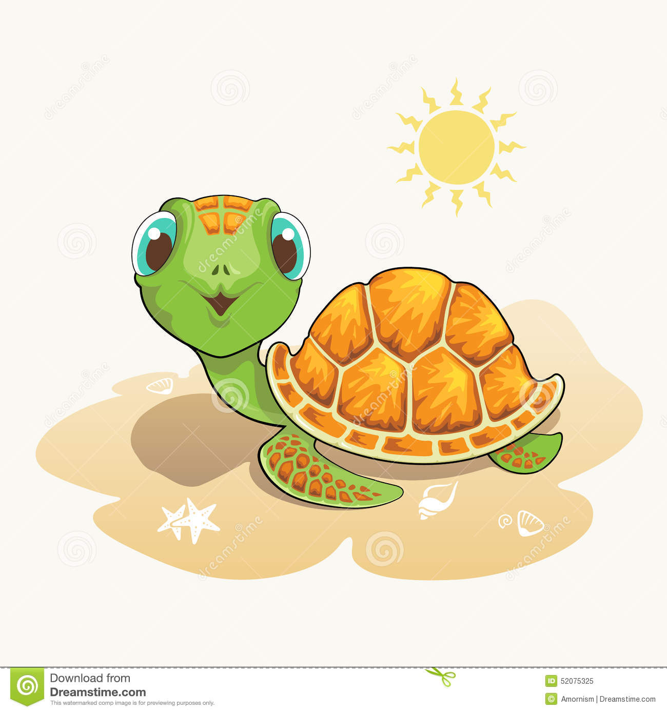 Cute Turtle Cartoon On The Beach Stock Vector ...