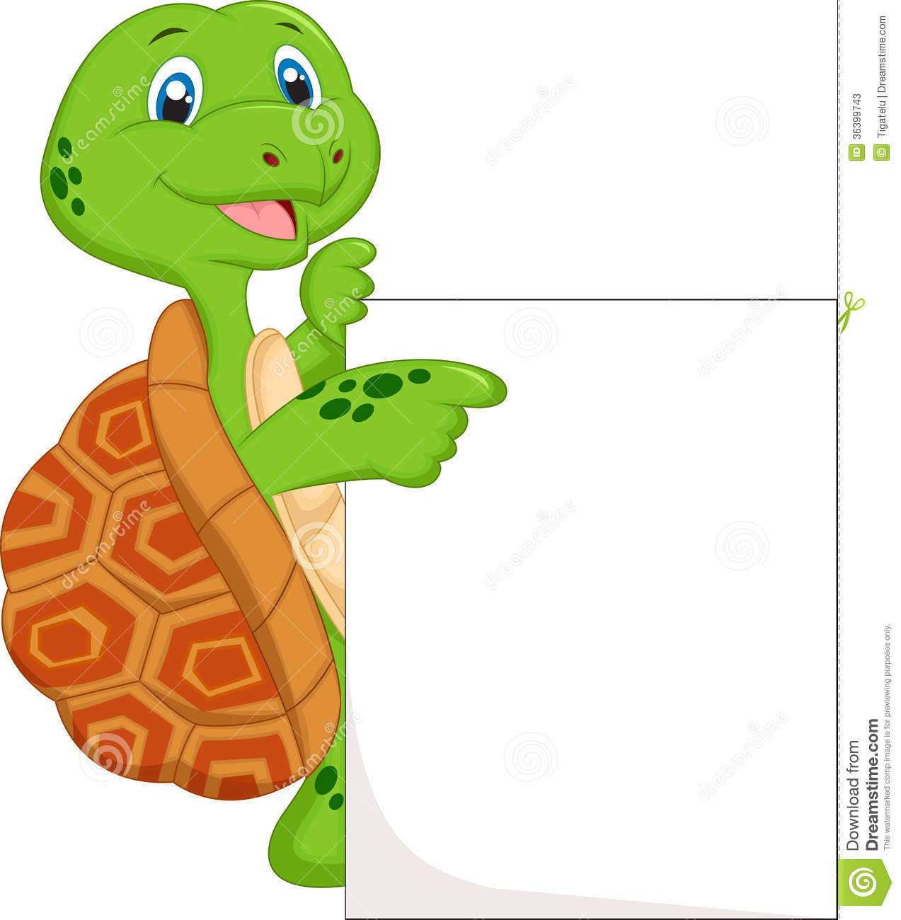 Cute Green Turtle Cartoon With Blank Sign Stock Illustration ...