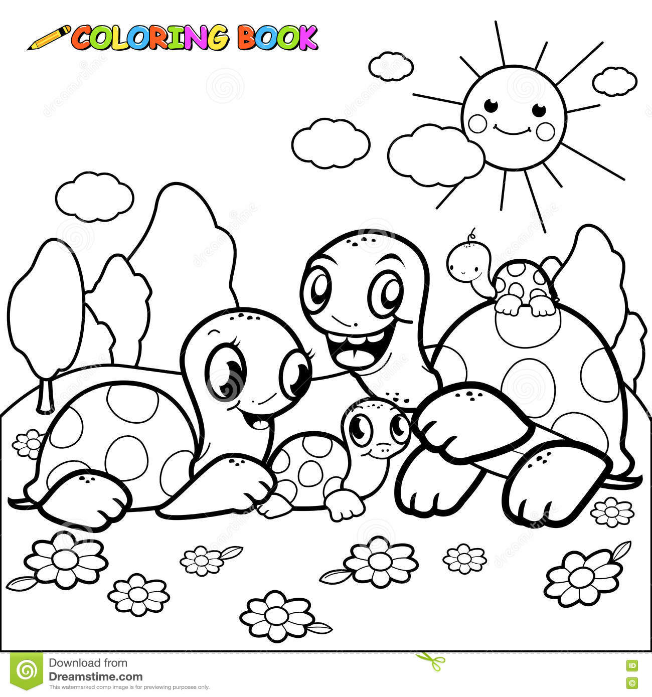 Outlined happy family vector illustration 18523160 - Coloriage tortue ...