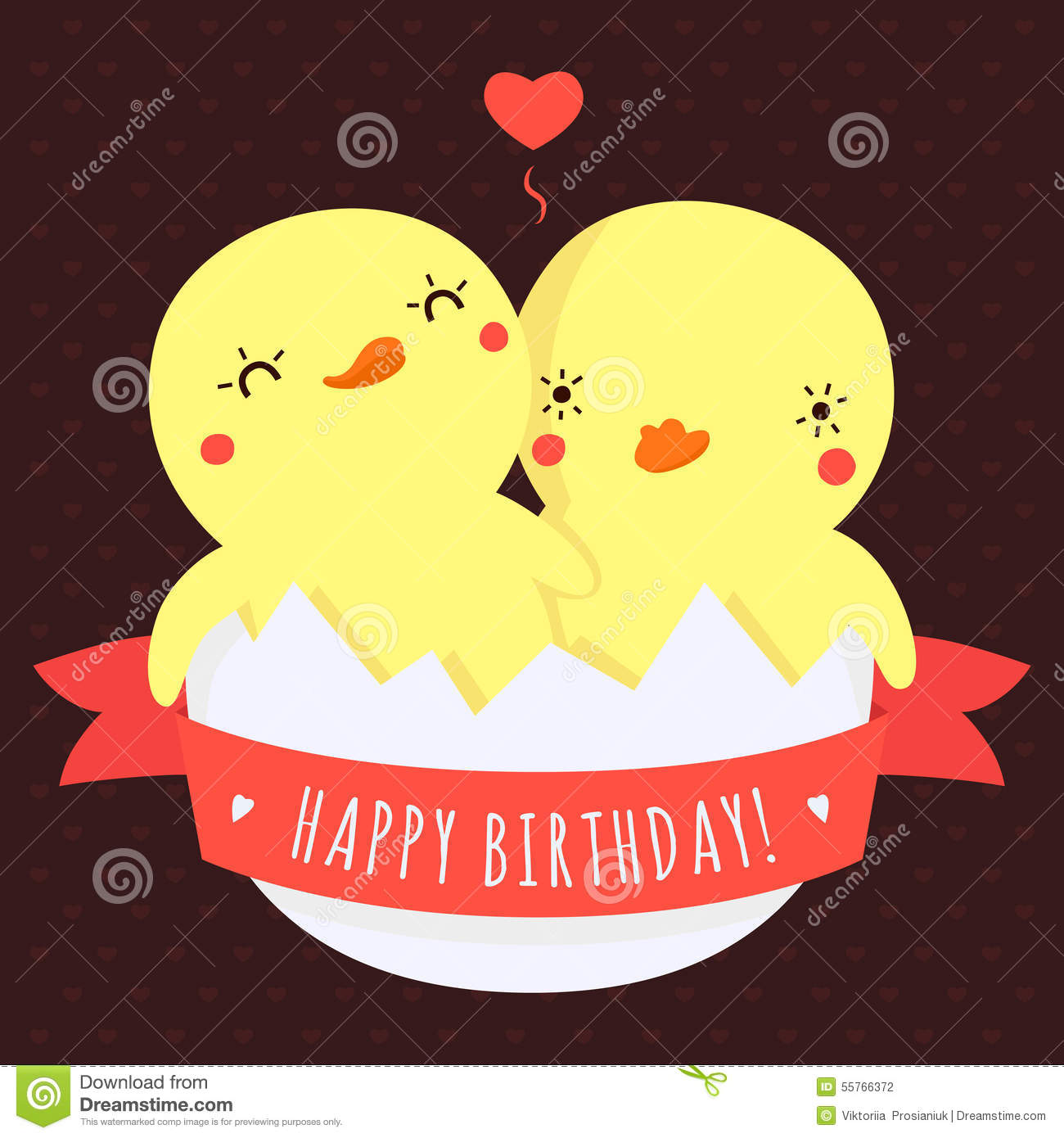 Cute Twins Baby Ducks In Egg Vector Happy Birthday Card And Background With Heart Light Red Pink Ribbon