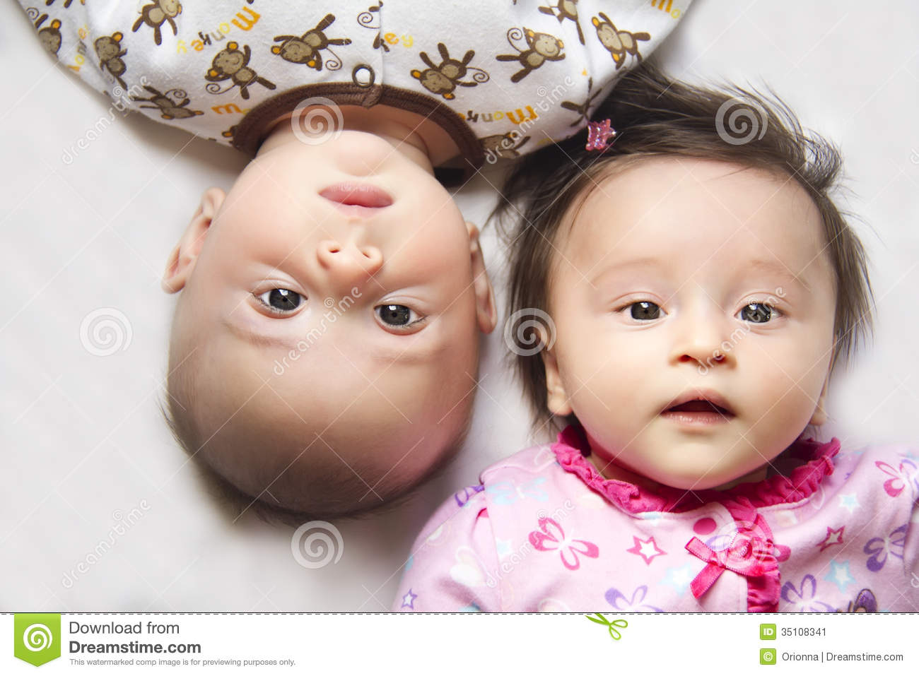 Cute Twins A Boy And A Girl Stock Image