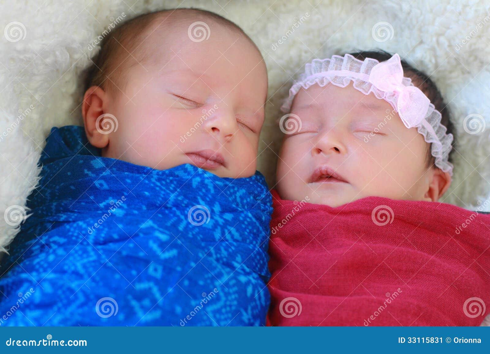 Cute twins sleeping