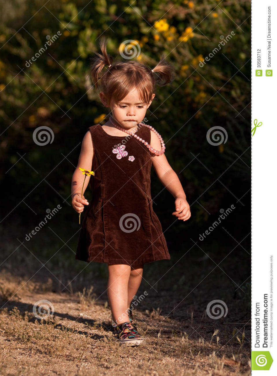 4c93d2c96 Cute Two-year-old Girl Walking Outdoors Stock Photo - Image of ...
