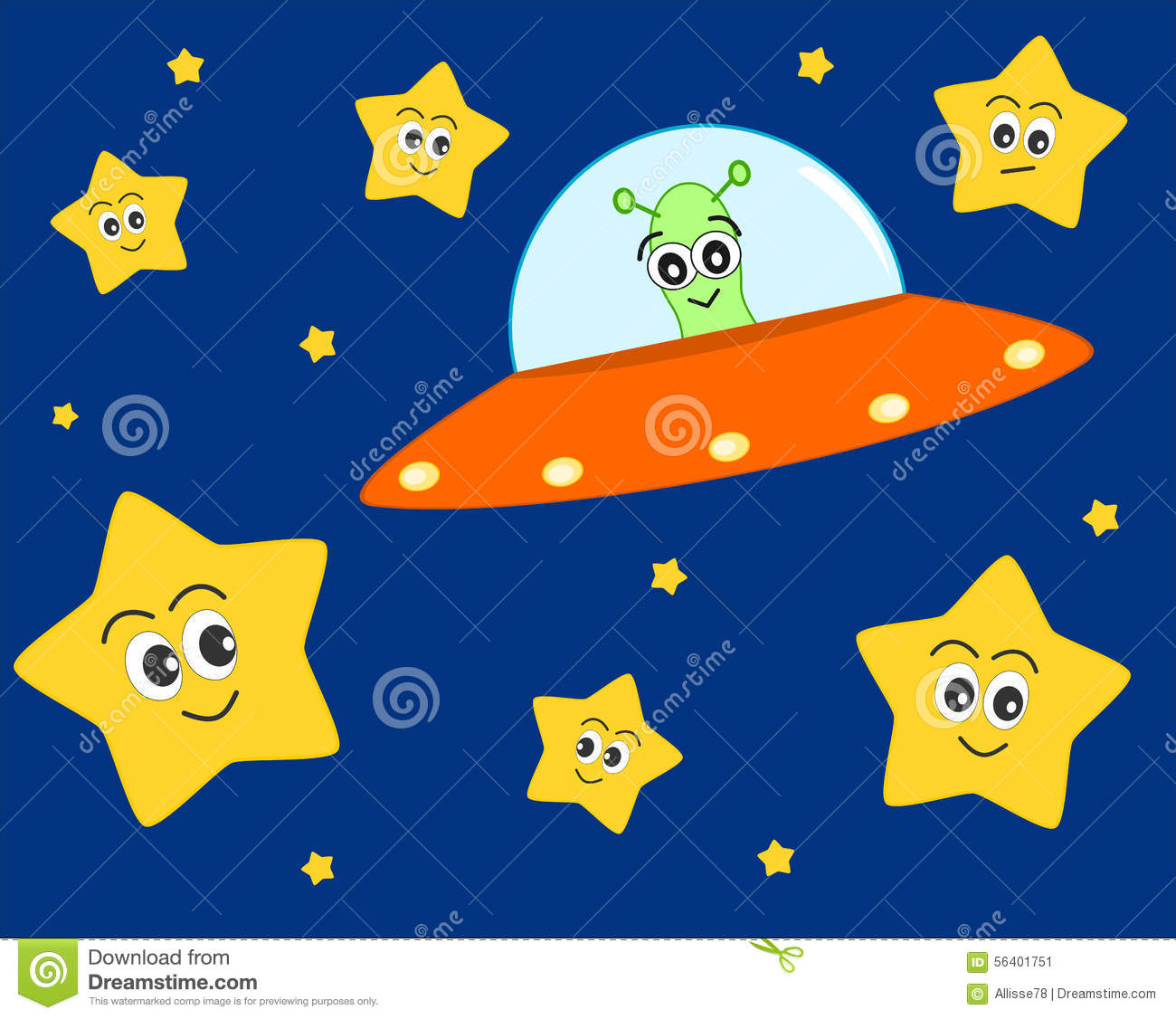 Cute Ufo Alien Cartoon In The Space With Sweet Stars Illustration For Kids