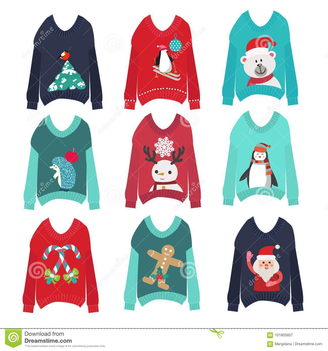 bffa2e29c3 Vector cute ugly christmas sweaters set sweater party collection for  invitations