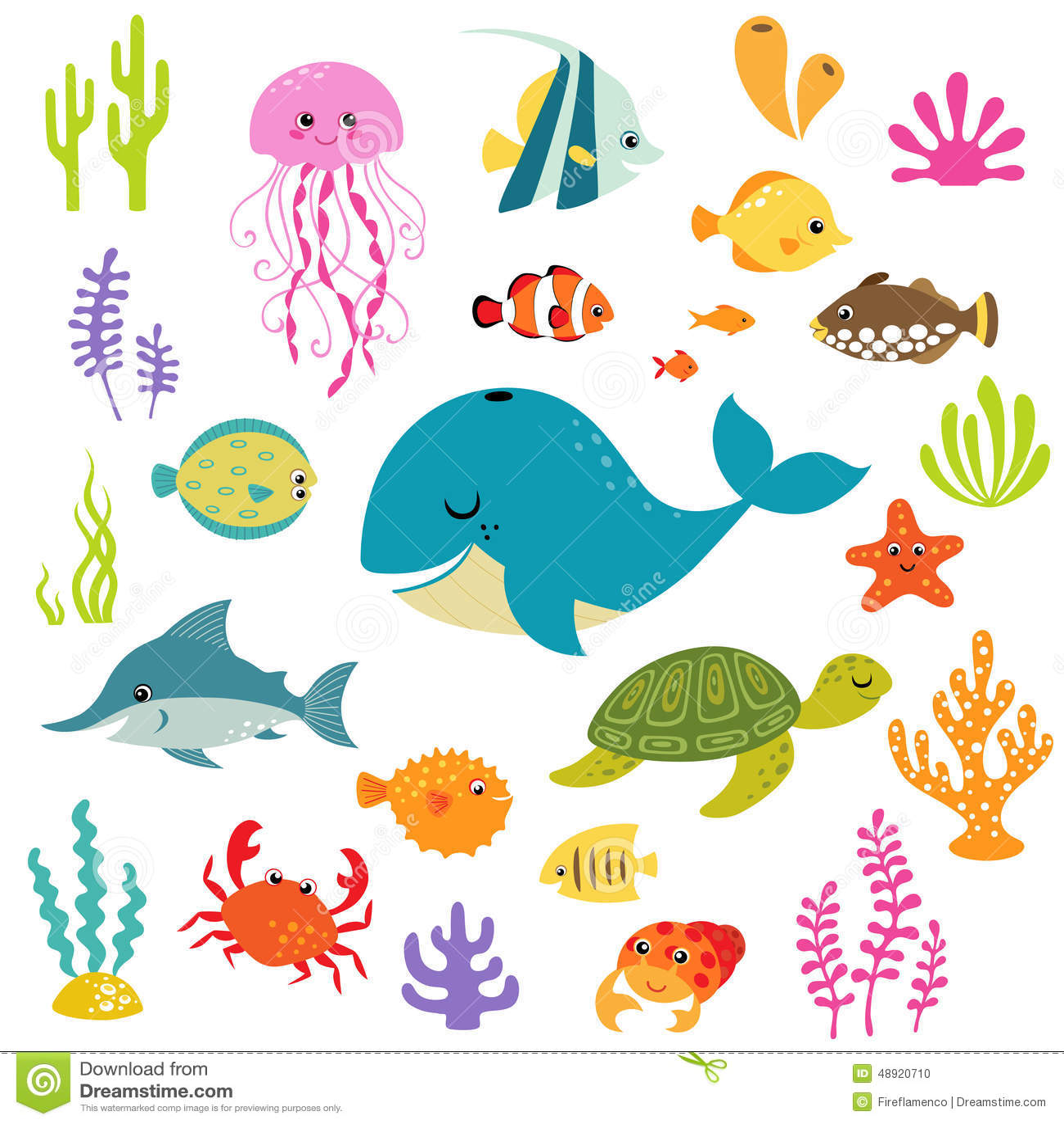 cute underwater world stock vector image 48920710