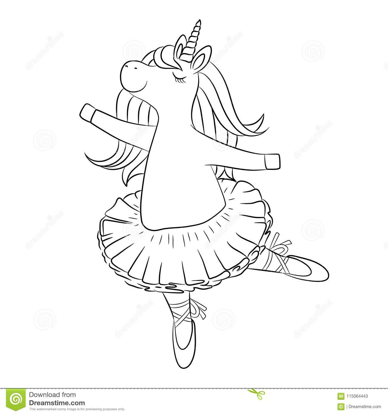 High Quality Download Cute Unicorn Ballerina Dancing, Outline Drawing. Stock  Illustration   Illustration Of Contour,