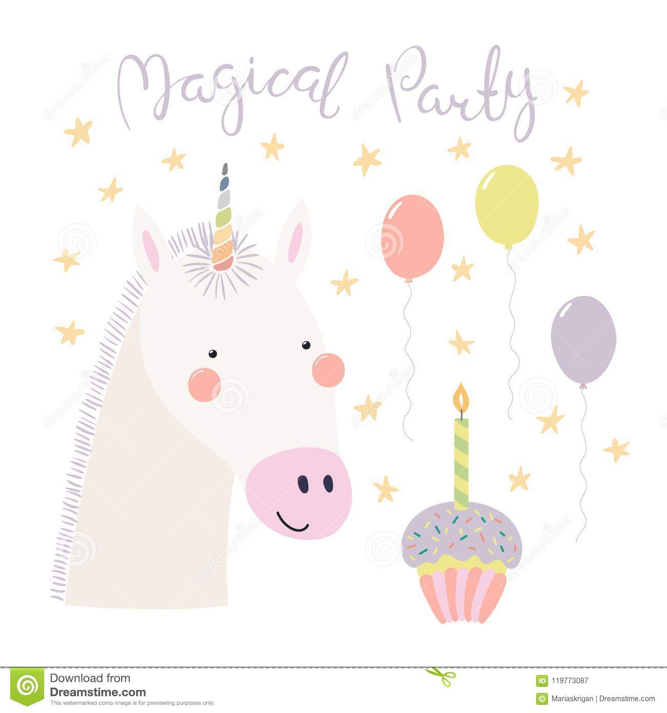 Cute Unicorn Birthday Card Stock Vector Illustration Of Happy