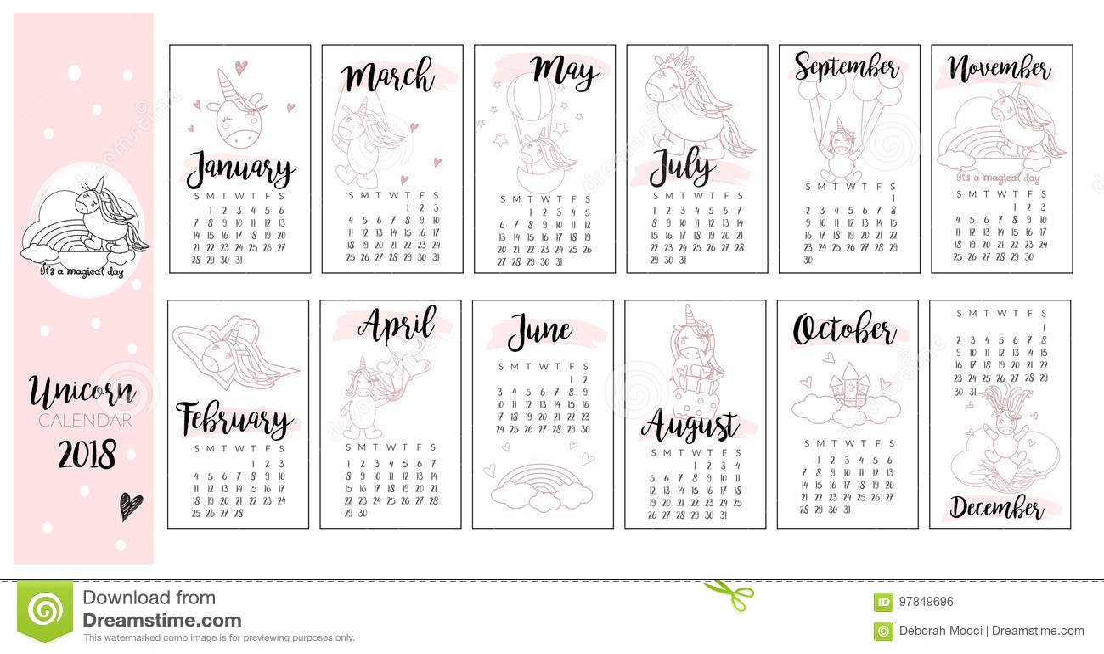 Calendar Design Baby : Cute unicorn calendar background in vector stock