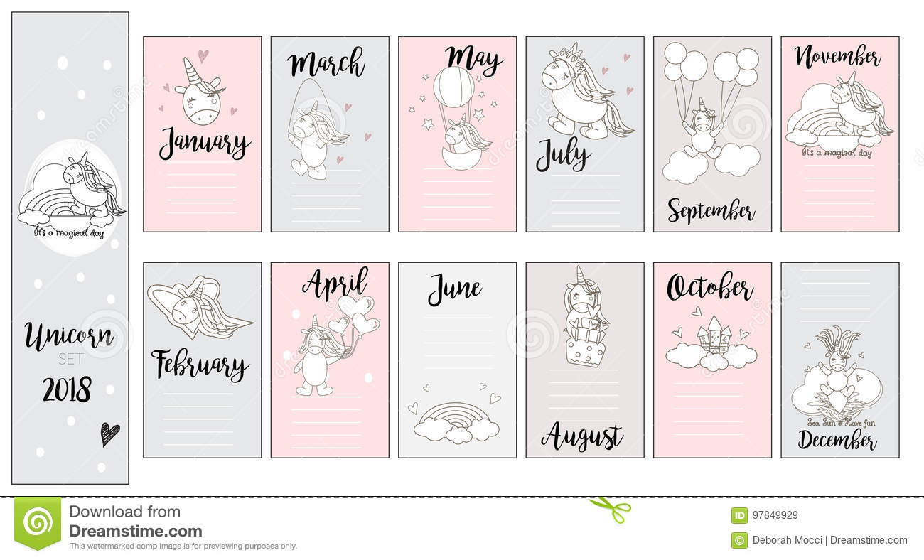 Cute Unicorn Cards For Baby Showercards Birthday In Vector Stock