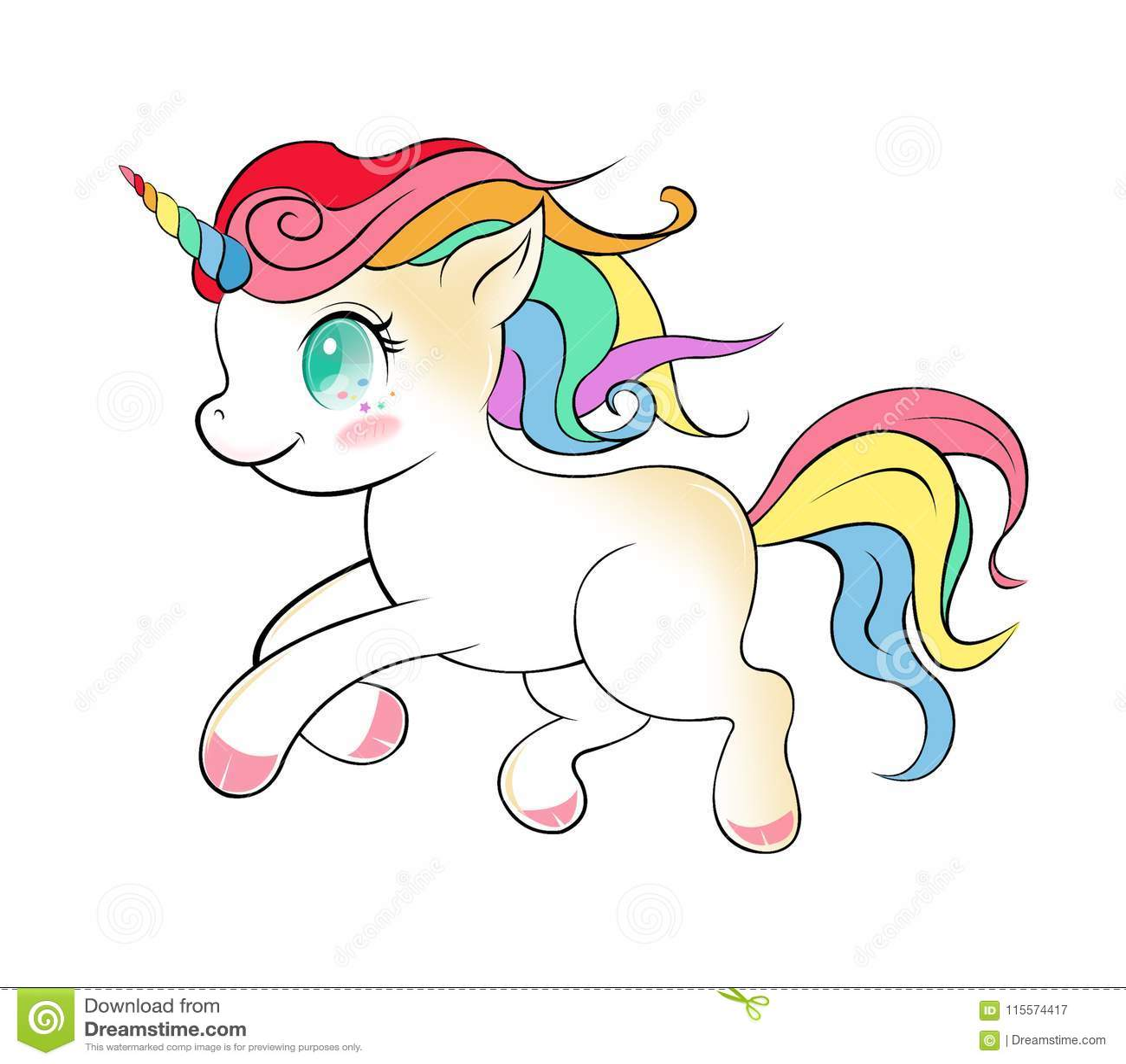 Cute unicorn cartoon vector, Unicorn magic drawing isolated