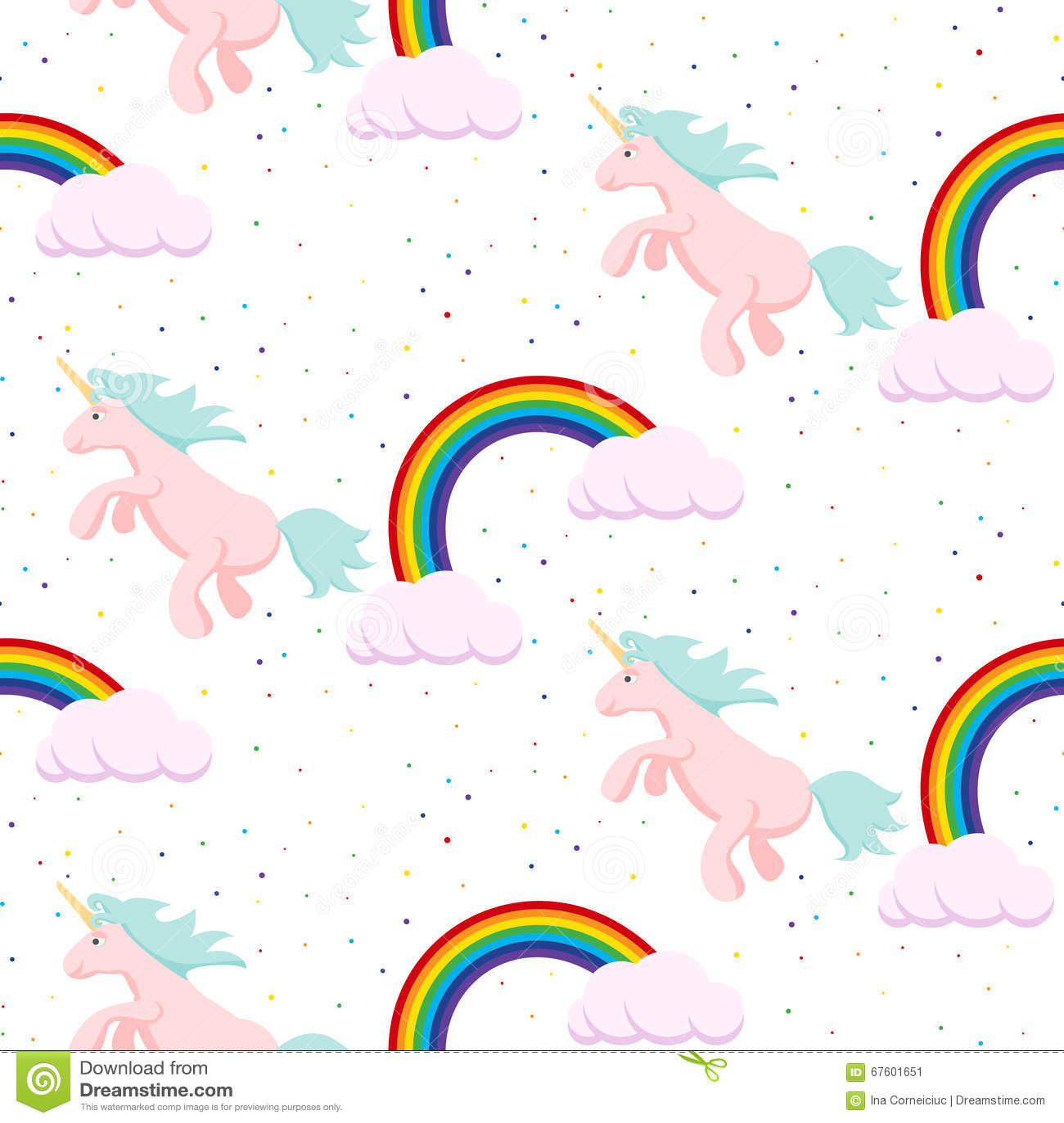 Cute Unicorn Child Seamless Pattern Stock Vector Image