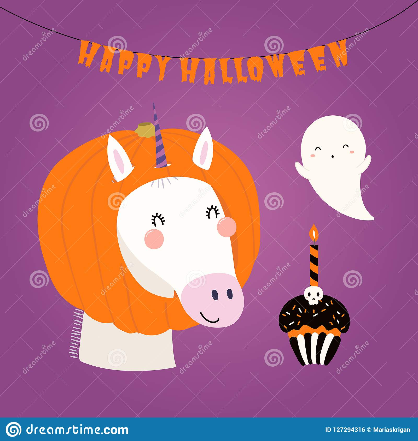 cute unicorn in halloween costume