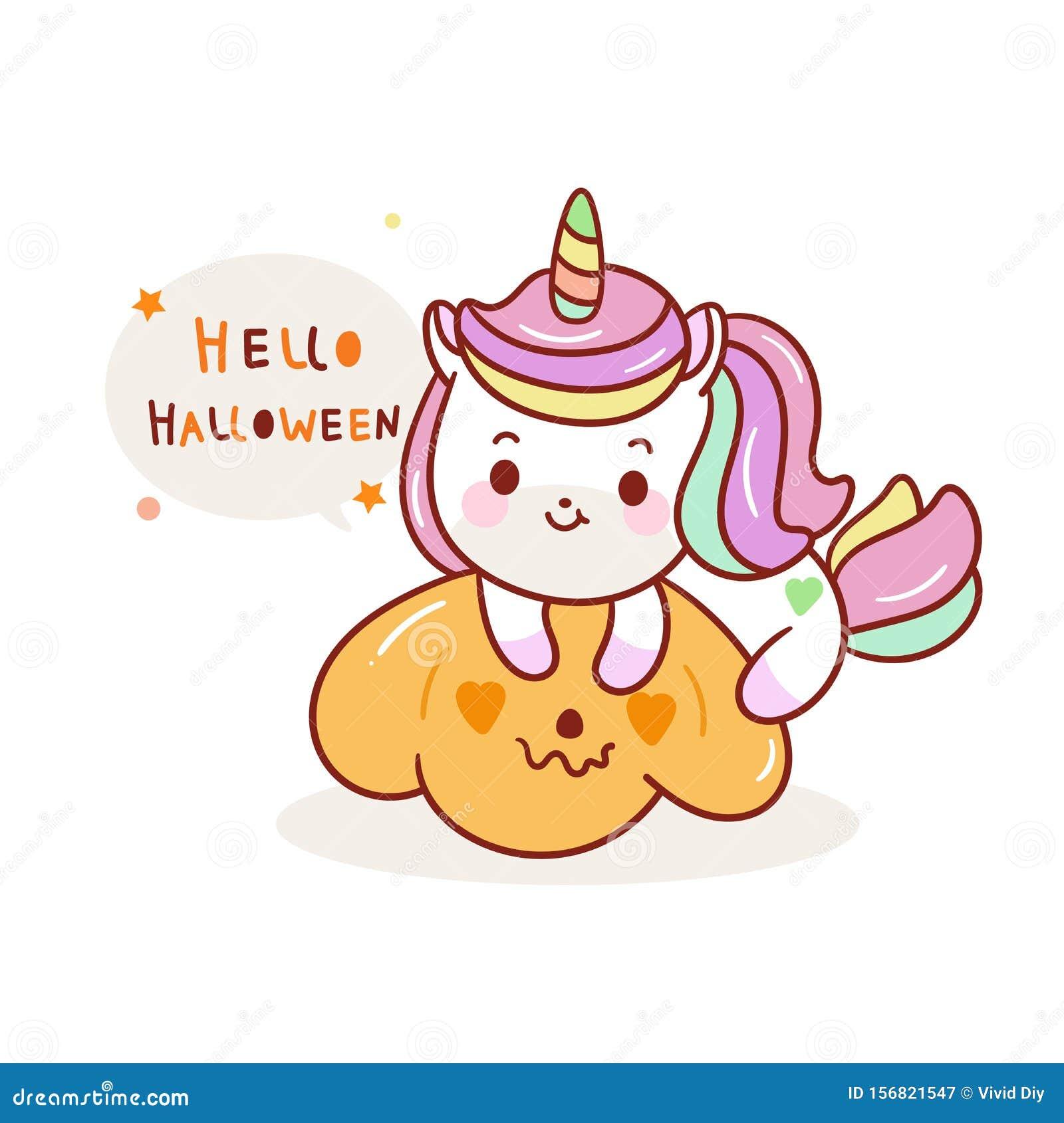 Cute Unicorn Halloween Vector Jack O Lantern Icons Pumpkin Artwork Kawaii Animal Pony Cartoon Stock Vector Illustration Of Birthday Beautiful 156821547