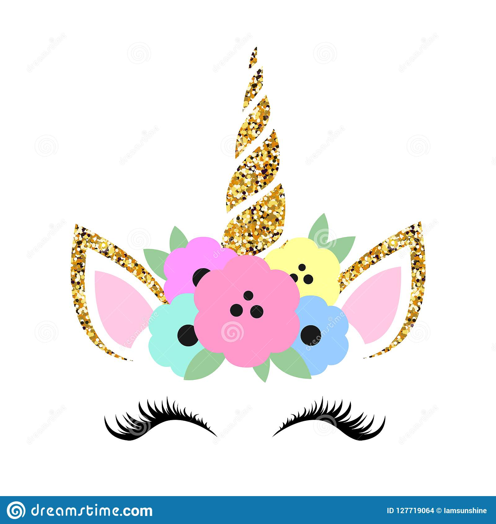Cute Unicorn Illustration With Glitter And Flowers Stock Vector Illustration Of Glassy Background 127719064