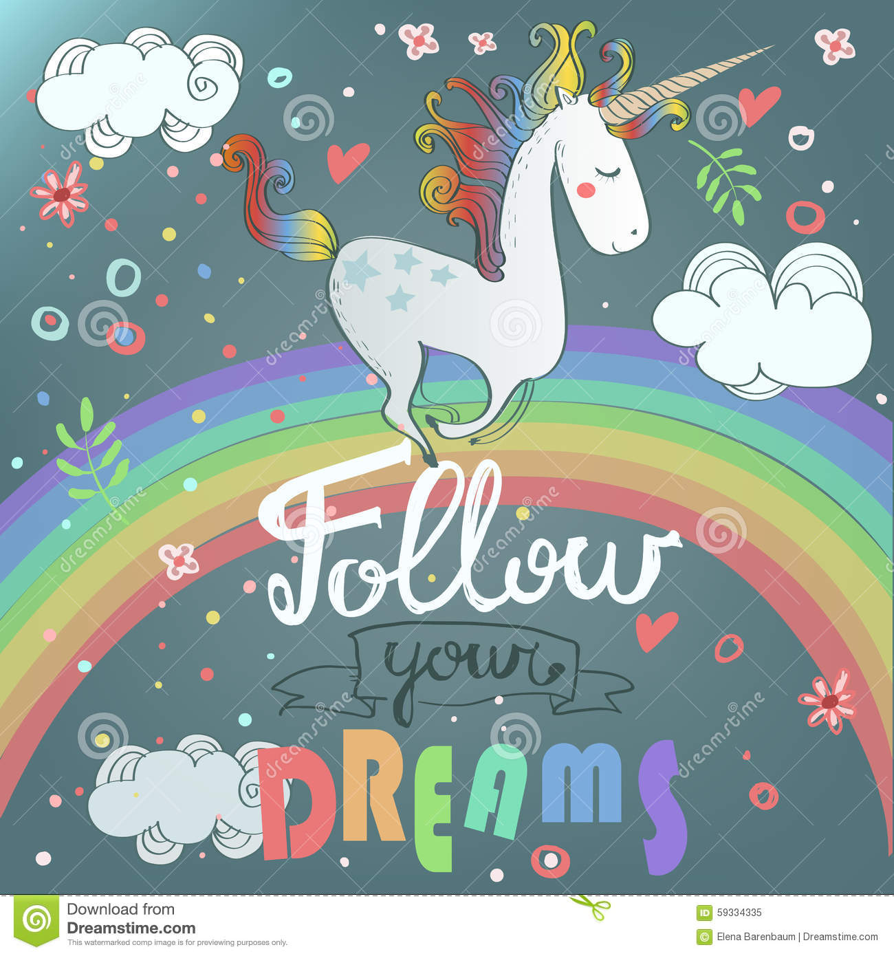 ... with cute unicorn and rainbow and floral decoration on background Unicorn Background