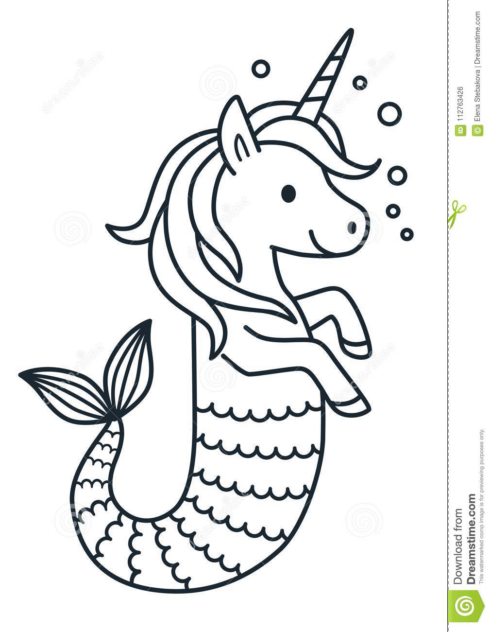 Cute Unicorn Mermaid Coloring Page Cartoon Illustration. Stock ...