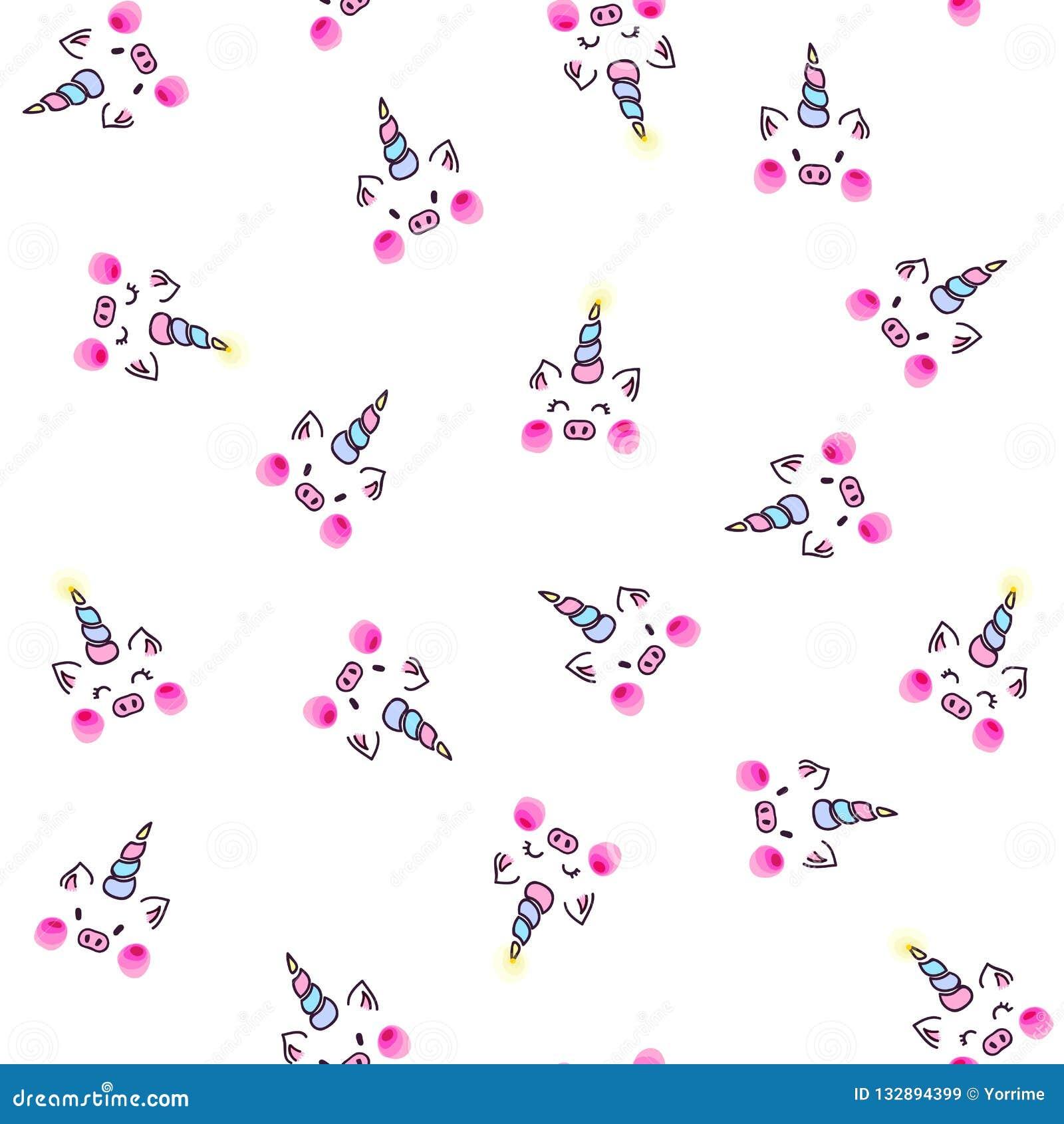 Cute unicorn pig seamless pattern