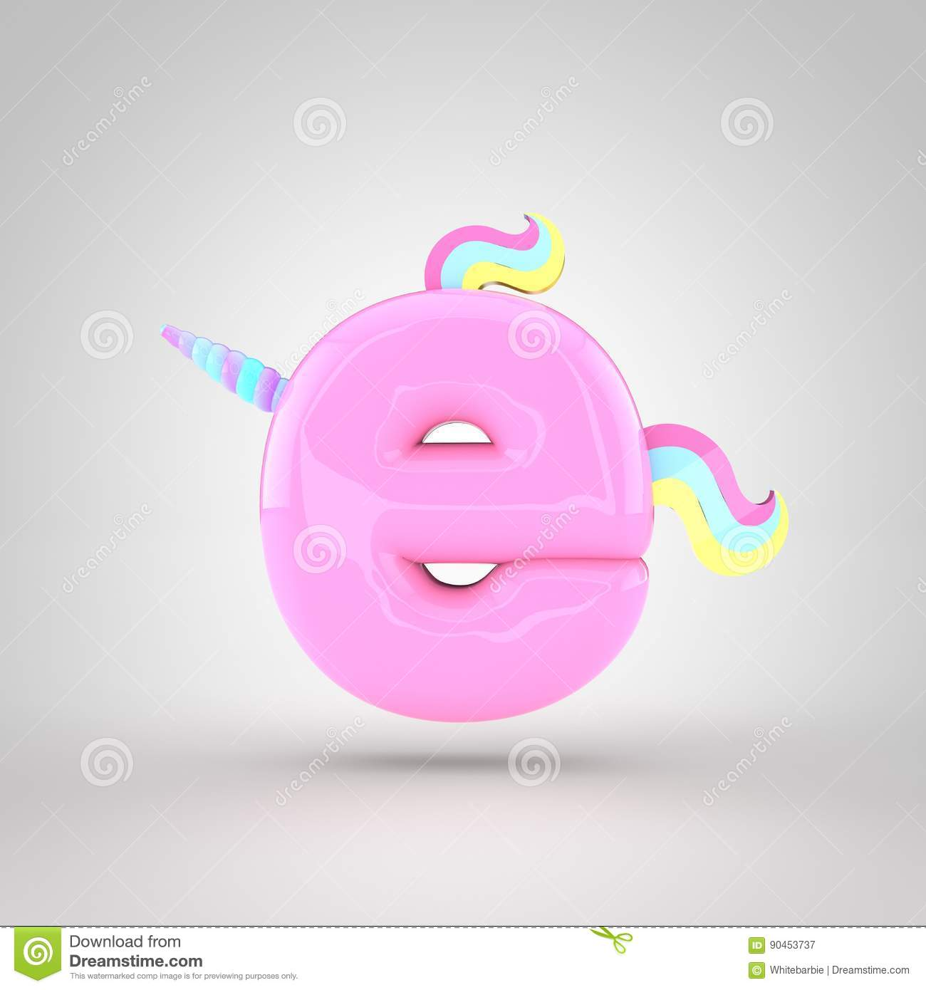 Cute Unicorn Pink Letter E Lowercase Stock Illustration ...