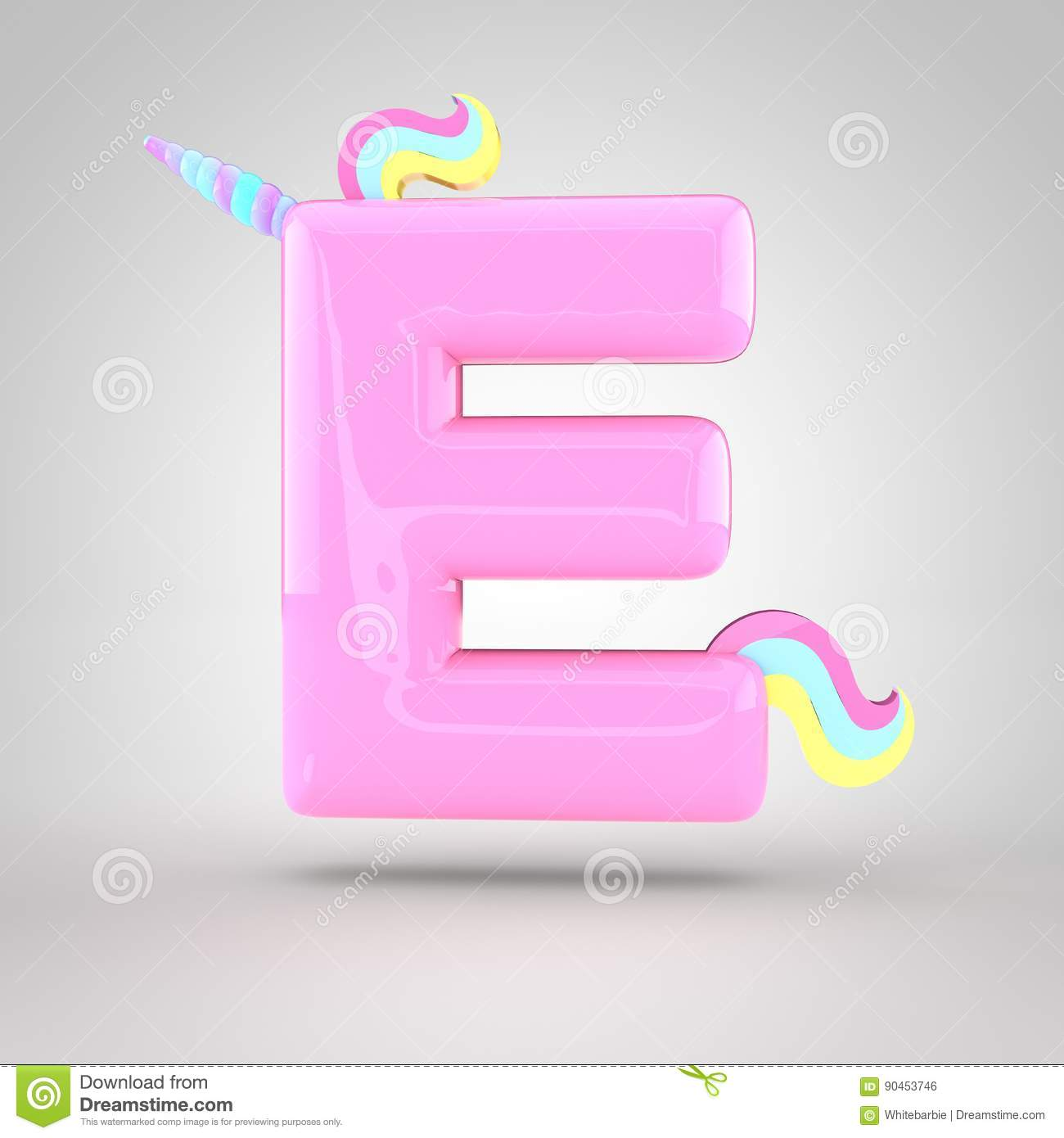 Cute Unicorn Pink Letter E Uppercase Stock Illustration ...