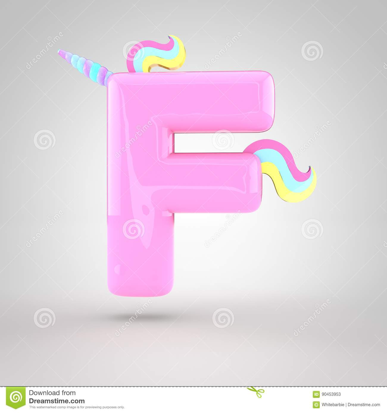 Cute Unicorn Pink Letter F Uppercase With Different Colors Horn Mane And Tail 3D Render Of Bubble Font Glint On White Background
