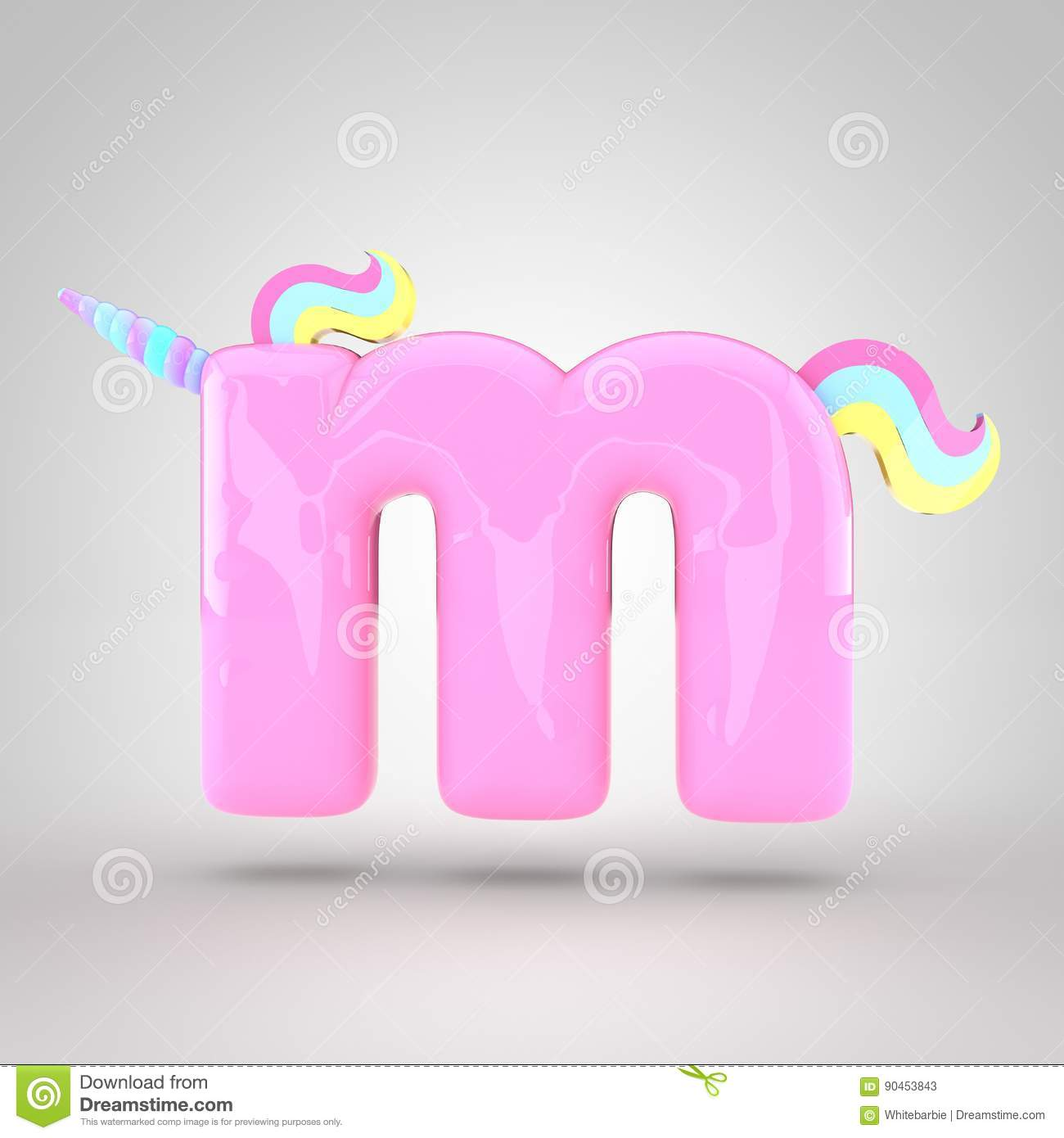 Cute Unicorn Pink Letter M Lowercase Stock Illustration ...