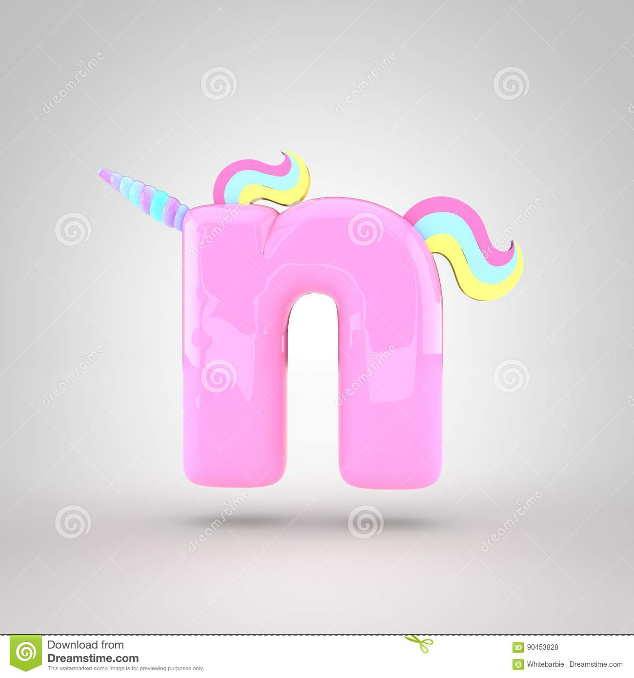 cute unicorn pink letter n lowercase