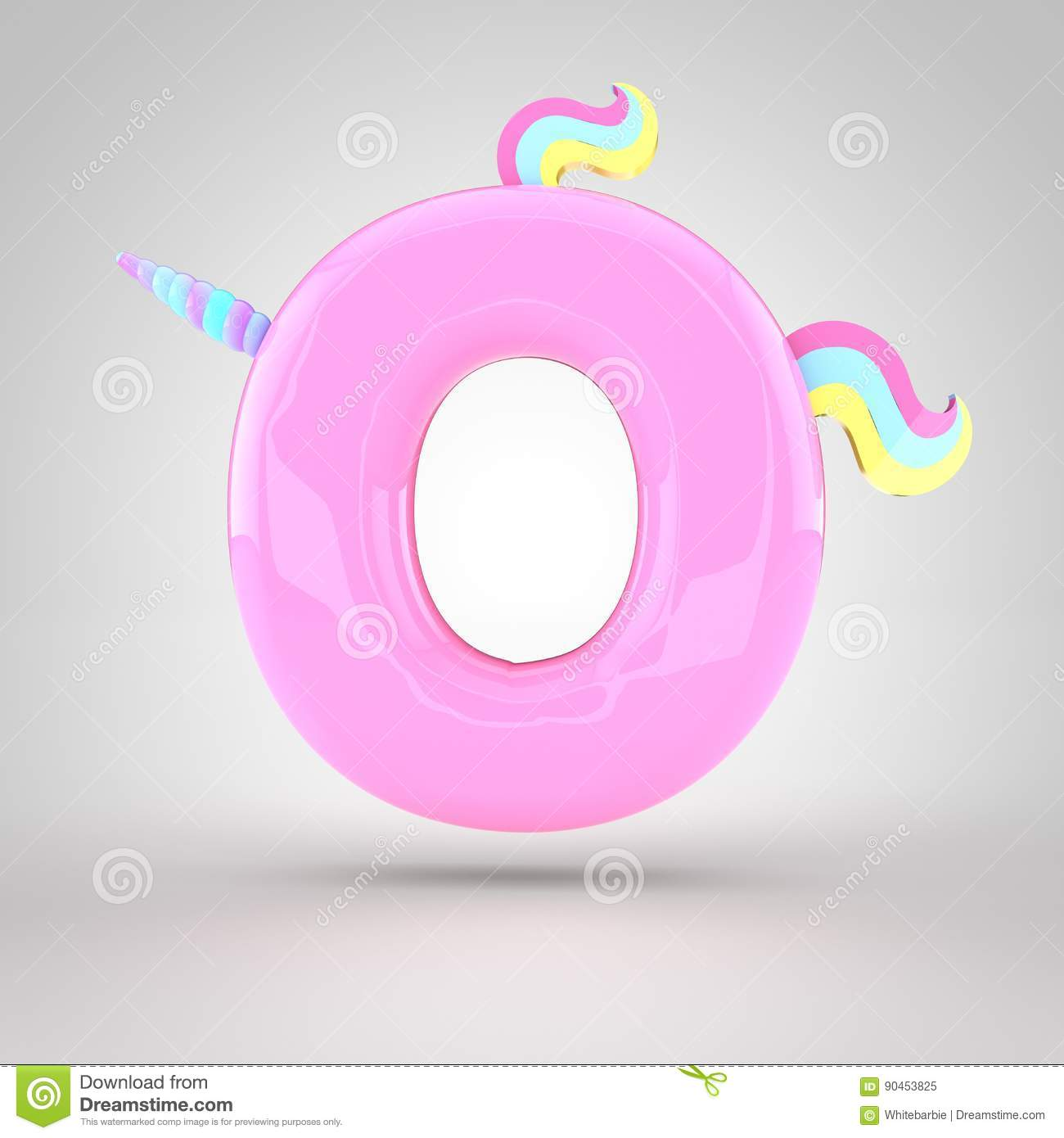 Cute Unicorn Pink Letter O Uppercase Stock Illustration
