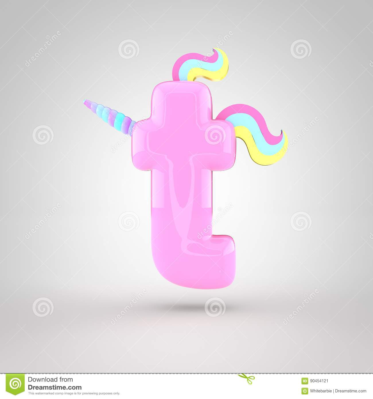 Cute Unicorn Pink Letter T Lowercase Stock Illustration ...
