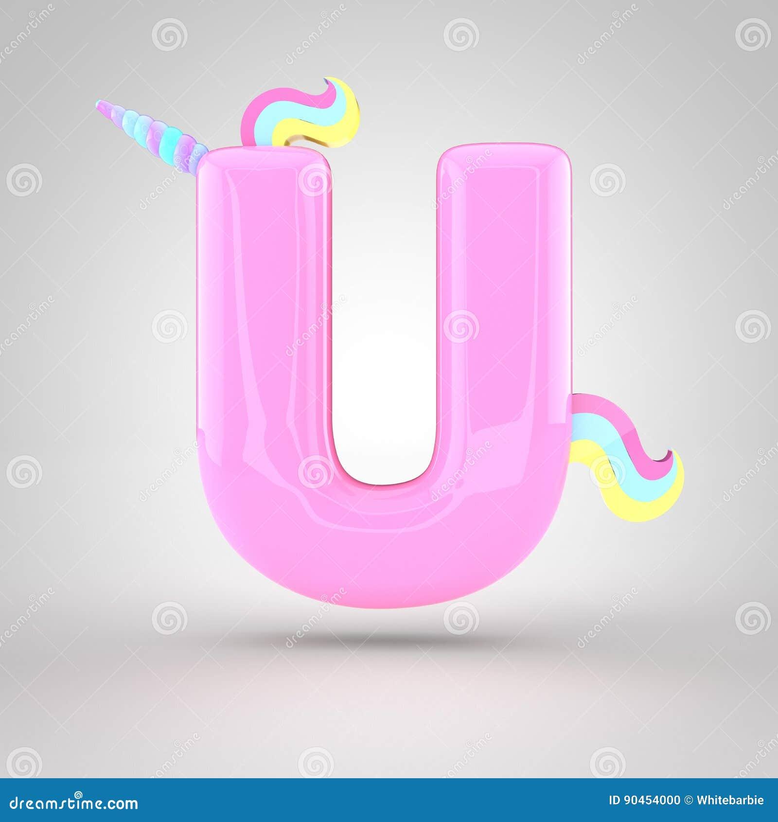 Cute Unicorn Pink Letter U Uppercase Stock Illustration ...