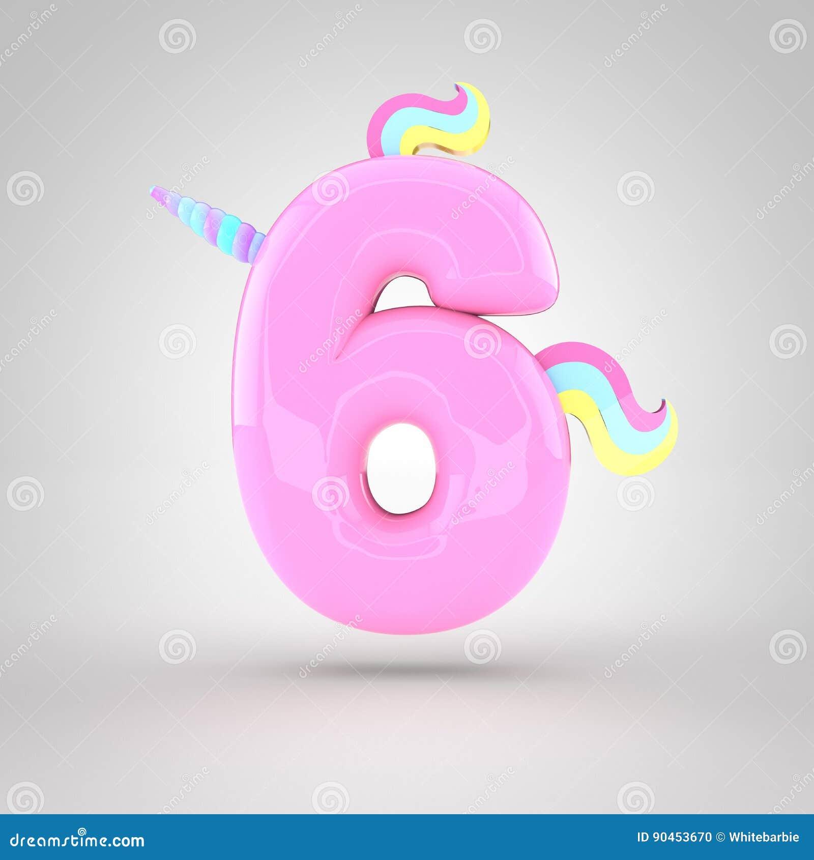 Cute unicorn pink number 5 stock illustration. Illustration of horn ...