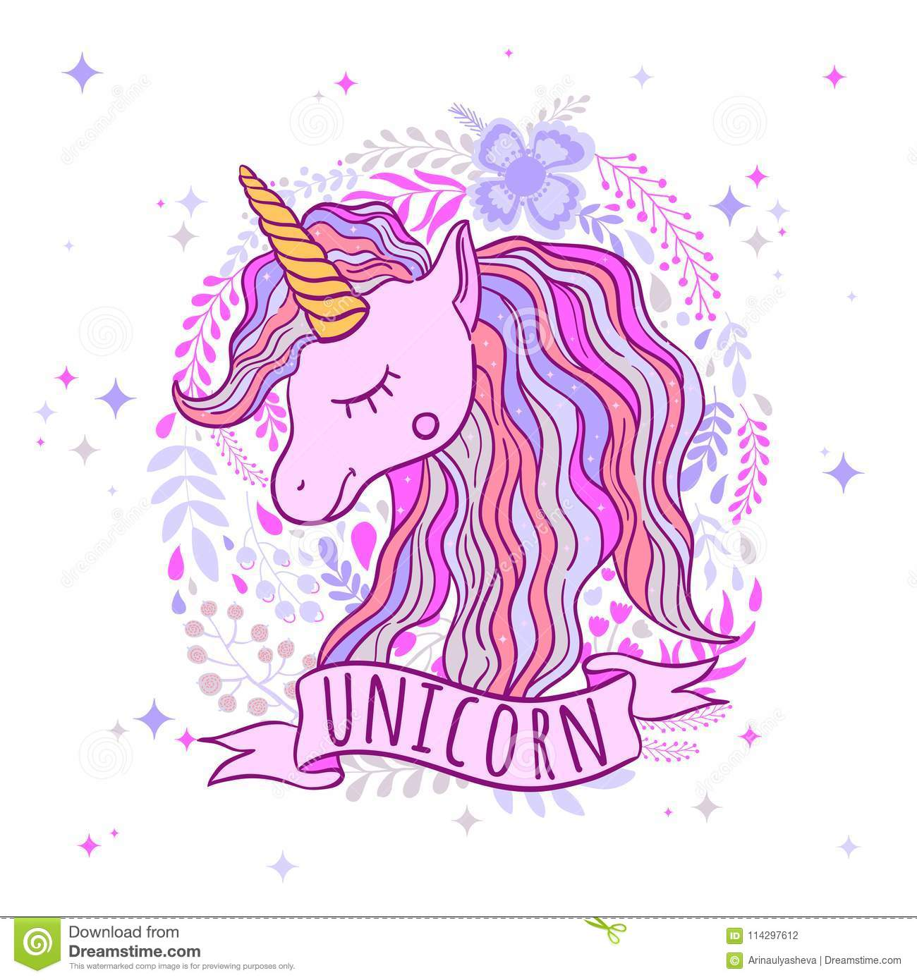 Cute Unicorn For Prints To Print A Poster Clothes For A
