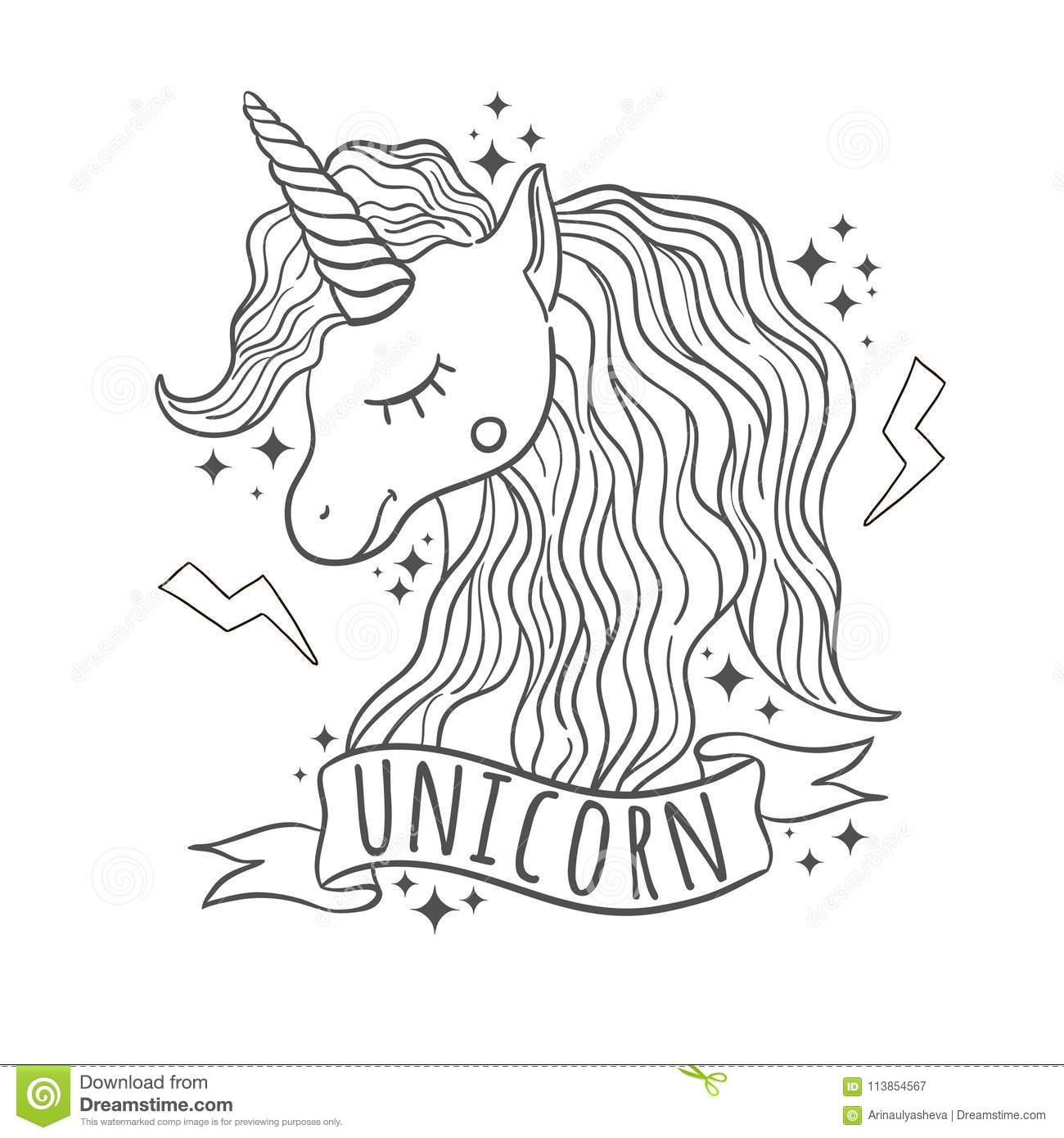 Cute Unicorn For Prints White Background Stock Illustration