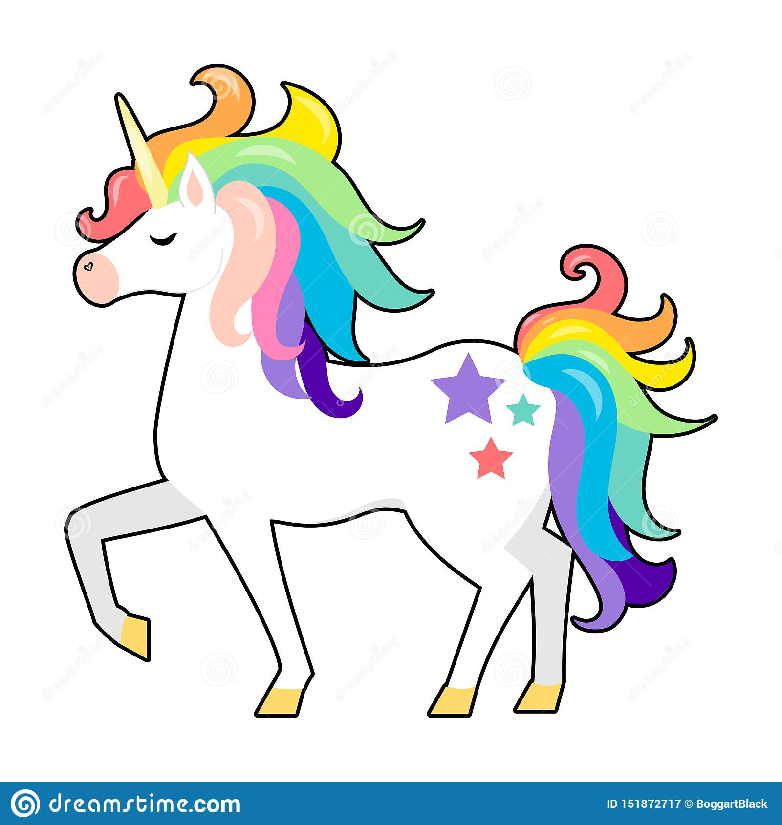 Cute Unicorn With Rainbow Hair Vector Cartoon Character Illustration Design For Child Card T Shirt Girls Kid Design Stock Vector Illustration Of Happy Funny 151872717