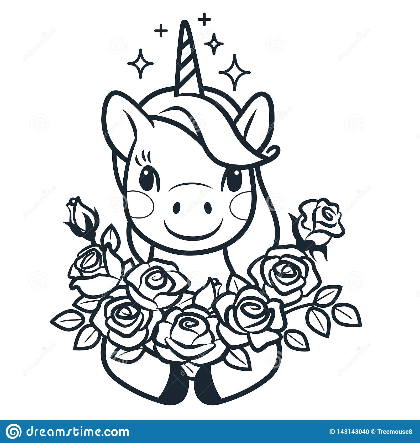 Cute Unicorn With Roses Simple