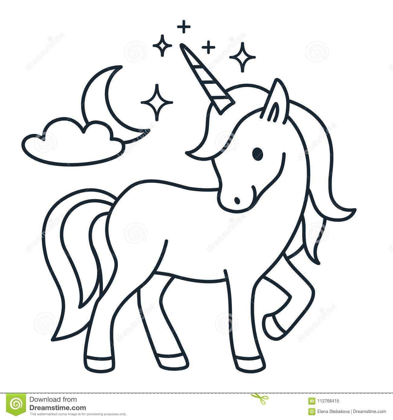Royalty Free Vector Download Cute Unicorn Simple Cartoon Coloring Book Illustration