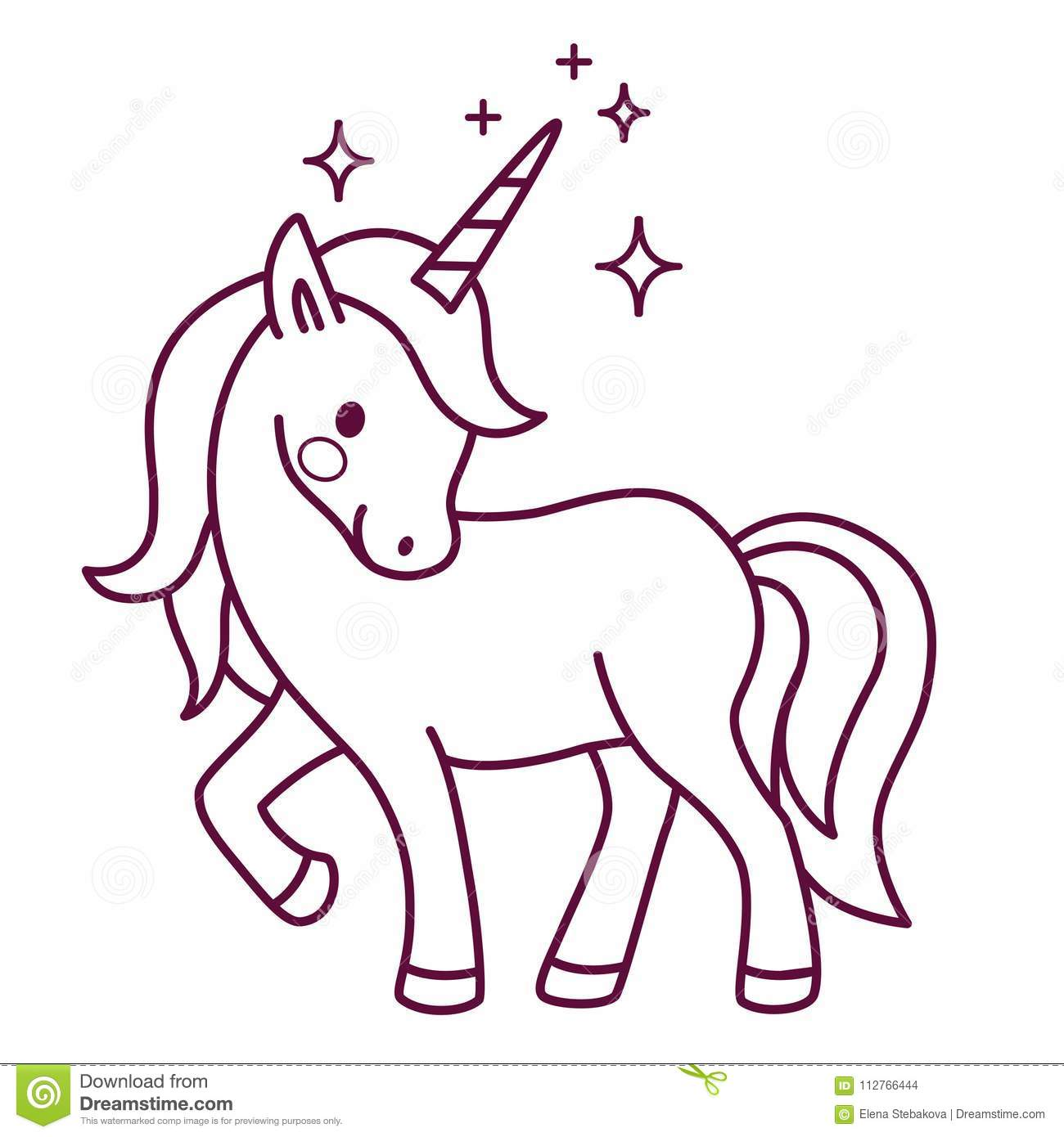 Cute unicorn simple cartoon vector coloring page illustration s